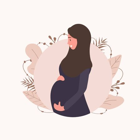 Muslim pregnant woman in abaya and hijab. Modern flat style vector illustration isolated on soft background.