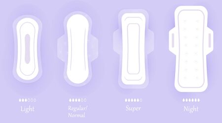 Women hygiene pads. Set of vector icons isolated on violet background with shadow. Different sizes of feminine sanitary napkin products. Personal hygiene elements in flat style. Vectores