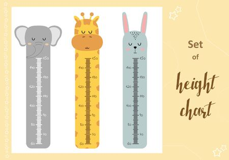 Kids space height chart. Cute wall meter with funny animals. Vector template. Cartoon zoo. Design of childrens products in scandinavian style.