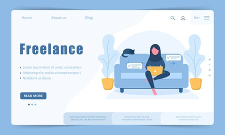 Womens freelance. Arabian girl in hijab with laptop sitting on the sofa. Landing page template. Concept illustration for working, studying, education, work from home, healthy lifestyle.