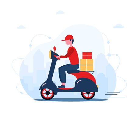 Online delivery service concept home and office. Scooter with fast courier. Shipping restaurant food and mail. Modern vector illustration in flat cartoon style.