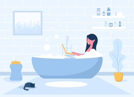 Woman freelance. Girl with laptop lying on bathtub. Concept illustration for studying, online education, work from home, communication, watching TV. Vector illustration in flat style.