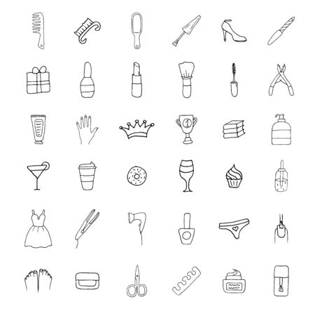 Simple Set of Cosmetics Related Vector Line Icons. Contains such Icons as Lipstick, Makeup Brush and more. Beautiful simple icons.