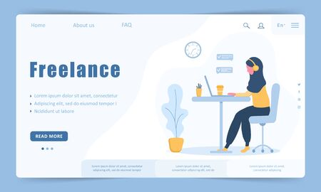 Woman freelance. Landing page template. Arabian girl in headphones with laptop sitting at a table. Concept illustration for working, studying, education, work from home, healthy lifestyle.