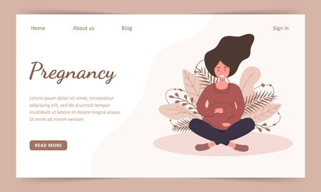 Pregnant woman in the lotus position. Landind page template. Modern flat style vector illustration isolated on soft background.