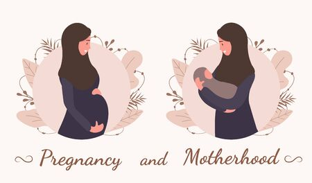 Pregnancy and motherhood. Muslim woman in abaya and hijab. Modern flat style vector illustration isolated on soft background. Standard-Bild - 148415635