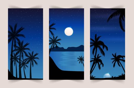 Summer set of mobile background. Colorful sunset on the sea with palm trees and seagulls. Stories template. Çizim