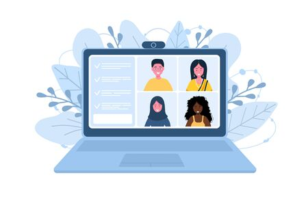 Video call conference. Working from home. Social distancing. Business discussion. Vector illustration in flat style.