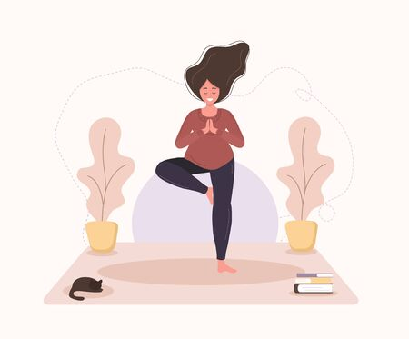 Pretty pregnant woman doing yoga, having healthy lifestyle and relaxation, exercises for girls. Modern vector flat illustration. Happy pregnancy concept isolated on white background.