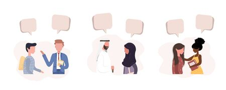 People talk to each other. Businessmen discuss social network. Friends chat with dialog speech bubbles. Modern vector illustration in flat style. Illusztráció