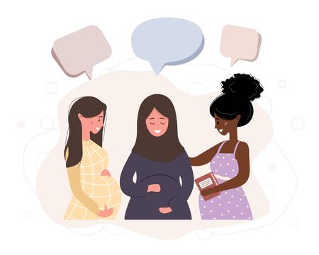 Pregnant girl talk to each other. Business women discuss social network, chat with dialog speech bubbles, debate working moments. Modern vector illustration in flat style. Vektoros illusztráció