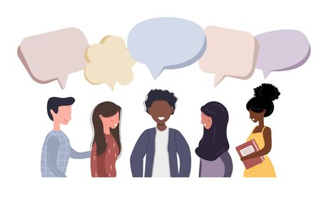 People talk to each other. Businessmen discuss social network. Friends chat with dialog speech bubbles. Modern vector illustration in flat style.