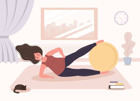 Yoga during pregnancy. Woman doing fitness exercises with fitball. Health care and sport concept. Beauty female character at home interior. Vector illustration in flat style.  イラスト・ベクター素材