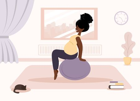 Yoga during pregnancy. African woman doing fitness exercises with fitball. Health care and sport concept. Beauty female character at home interior. Vector illustration in flat style.
