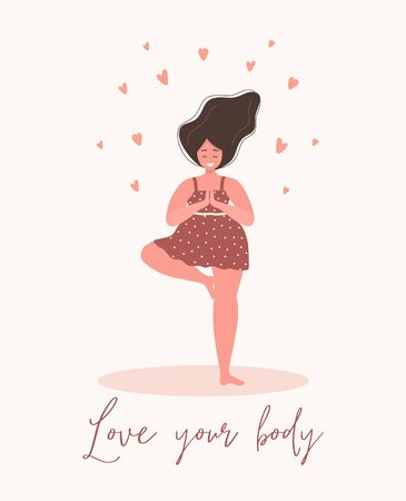 Love yourself. Love your body concept. Girl Healthcare Skincare. Take time for your self. Calm woman in dress with hearts on white background. Pastel cute soft colors. Vector illustration. Flat style. Illustration