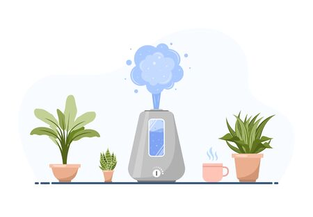 Humidifier with house plants. Equipment for home or office. Ultrasonic air purifier in the interior. Cleaning and humidifying device. Modern vector illustration in flat cartoon style. Vectores