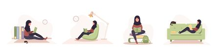 Books lovers. Arab reading women holding books. Preparing for examination or certification. Knowledge and education library concept, literature readers. Set of vector illustration in flat style
