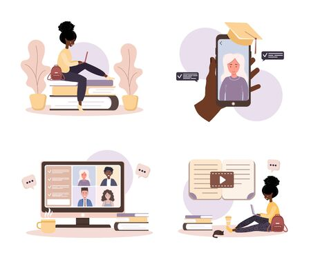 Online education. Flat design concept of training and video tutorials. African student learning at home. Vector illustration for website, marketing material, presentation template, online advertising