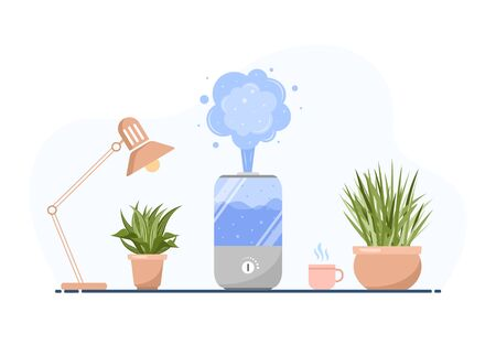 Humidifier with house plants. Equipment for home or office. Ultrasonic air purifier in the interior. Cleaning and humidifying device. Modern vector illustration in flat cartoon style