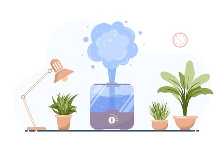 Humidifier with house plants. Equipment for home or office. Ultrasonic air purifier in the interior. Cleaning and humidifying device. Modern vector illustration in flat cartoon style. Illustration
