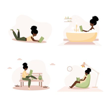 Books lovers. African reading women holding books. Preparing for examination or certification. Knowledge and education library concept, literature readers. Set of vector illustration in flat style. Ilustração
