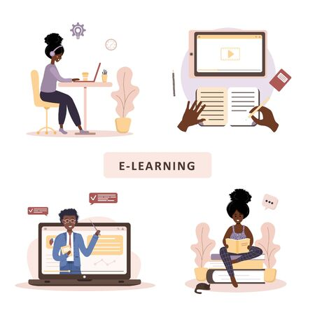 Online education. Flat design concept of training and video tutorials. African student learning at home. Vector illustration for website, marketing material, presentation template, online advertising.