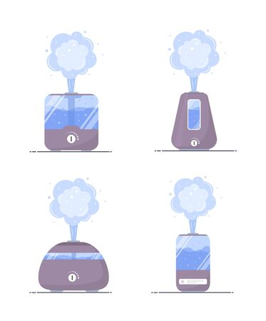 Humidifier air icon. Set of ultrasonic purifiers microclimate for home. Healthy humidity. Modern vector illustration in flat cartoon style.