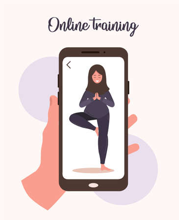 Online yoga and sport at home concept. Doing excercises with a mobile app. Stay healthy and fit during epidemic and quarantine. Vector illustration of arab woman in hijab teaching yoga via internet. Illusztráció