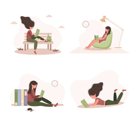 Books lovers. Reading women holding books. Preparing for examination or certification. Knowledge and education library concept, literature readers. Set of modern vector illustration in flat style.