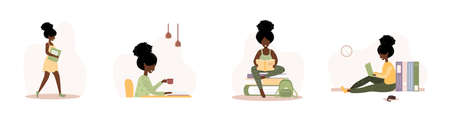 Books lovers. African reading women holding books. Preparing for examination or certification. Knowledge and education library concept, literature readers. Set of vector illustration in flat style. Banco de Imagens - 150595991