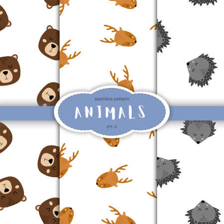 Seamless pattern of cute hand drawn sleeping animals. Cartoon zoo. Vector illustration. Animal for design of children products in scandinavian style.