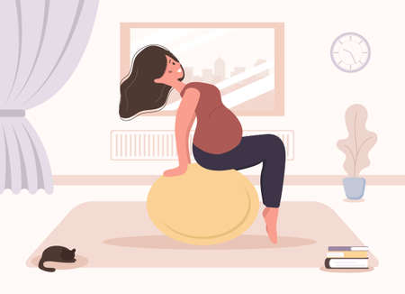 Yoga during pregnancy. Woman doing fitness exercises with fitball. Health care and sport concept. Beauty female character at home interior. Vector illustration in flat style. Çizim