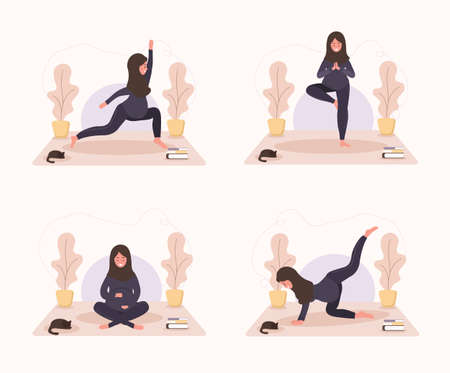 Collection arab pregnant women doing yoga, having healthy lifestyle and relaxation. Bundle exercises for girls. Modern vector illustration in flat style. Happy pregnancy concept on white background. Çizim