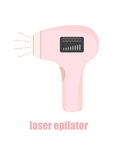 Photo and laser epilator. Hair removal procedure. Sign for beauty salon. Modern vector illustration in flat cartoon style Stock Illustratie