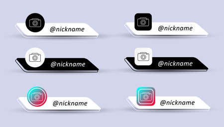 Set of username isolated on white and black background. Social media logo. Vector illustration in flat style Logos