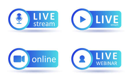 Set of live streaming icons. Gradient symbols and buttons of live streaming, broadcasting, online webinar. Label for tv, shows, movies and live performances. Vector flat illustration.