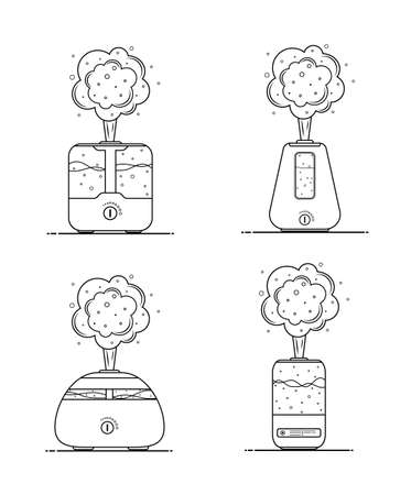 Humidifier air icon. Set of ultrasonic purifiers microclimate for home. Healthy humidity. Modern vector illustration.