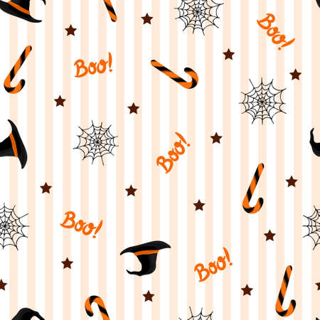 Seamless pattern with halloween hat, candies and spider web on white background. For wrapping paper, invitations, web design. Vector illustration in flat style.