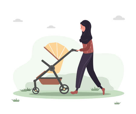 Young arab woman walking with her newborn child in an pram. Girl on a walk with a stroller and a baby in nature in the open air. Vector illustrations in flat style.
