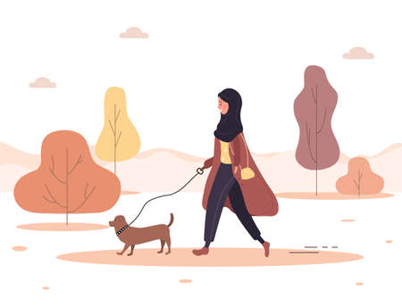 Autumn background. Young arab woman in hijab walks with dog through the woods. Concept happy girl in brown coat with dachshund or poodle. Vector illustration in flat style.