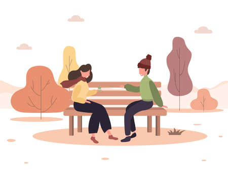 Man and woman have a date in park. Romantic couple sitting on bench and smiling. Two lovers spend time together. Happy autumn background. Vector illustration in flat cartoon style.
