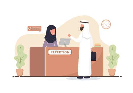 Reception interior. Arabic woman receptionist in hijab. Arab man at reception desk. Hotel booking, clinic, airport registration, bank or office reception concept. Cartoon flat vector illustration. Vettoriali