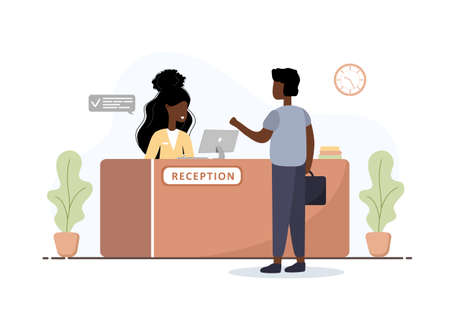 Reception interior. African woman receptionist and man with briefcase at reception desk. Hotel booking, clinic, airport registration, bank or office reception concept. Cartoon flat vector illustration