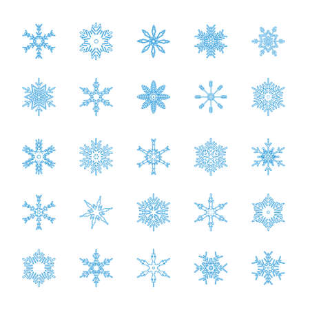 Blue snowflakes set isolated on white background. Snow elements for Happy New Year and Merry Christmas holidays greeting card decoration. Beautiful and simple design vector illustration. Векторная Иллюстрация