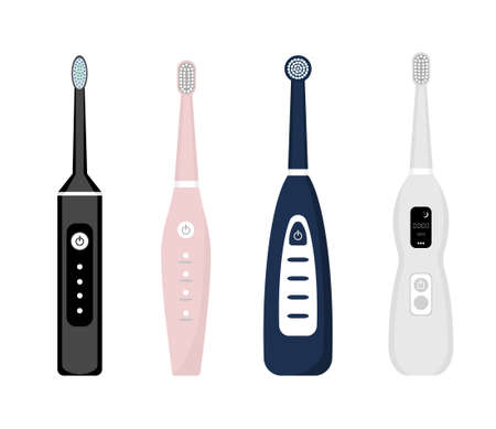 Set of electric toothbrush icons isolated on white background. Element for cleaning teeth. Dentistry equipment illustration. Vector tooth care tool in flat style.