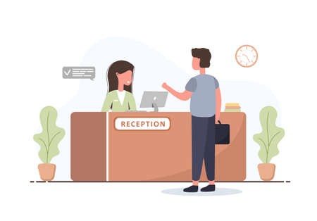 Reception interior. Young woman receptionist and man with briefcase at reception desk.