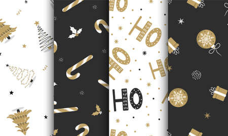 Set of seamless pattern with christmas elements on dark and white background. Perfect for holiday invitations, winter greeting cards, wallpaper and gift paper. Vector illustration in flat style.