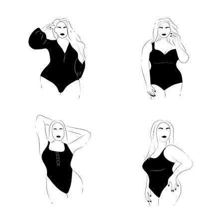Body positive emblem. Abstract minimalistic female figure. Ilustração