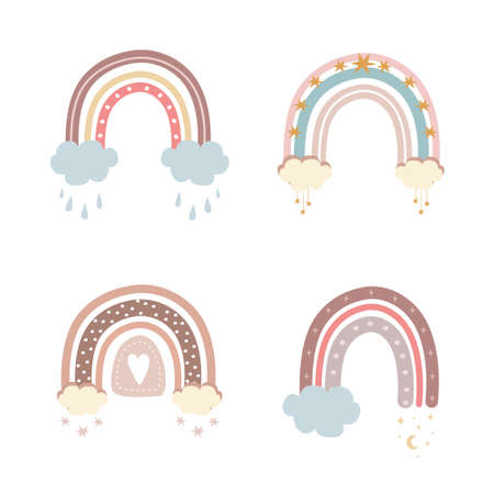Trendy rainbows in boho style in different color. Rainbows with cloud, stars and hearts. Children illustrations for holidays. Doodle art elements. Modern vector illustration. Ilustração
