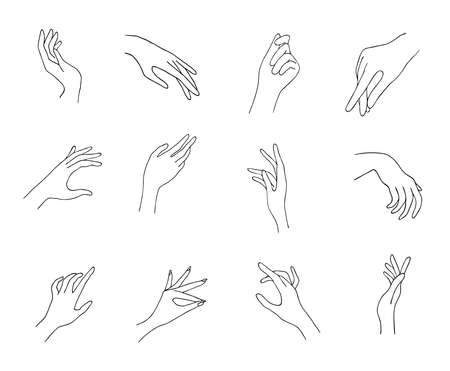 Women hand icons. Elegant female hands of different gestures. Lineart in a trendy minimalist style. Vector Illustration. EPS10.